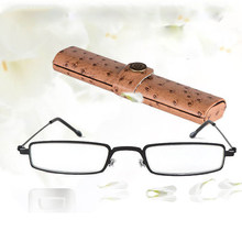 Christmas Metal Frame Slim Mini Reading Glasses Men Women Eyeglasses Diopter 1.5 2.0 Watch Presbyopic Eyewear Oculos Small Case(China)