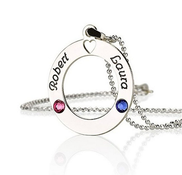 2016 New Arrival Name Necklace for Women Unique Fashion Design Birthstone Necklace Hot Sale Heart Crystal Custom Necklace