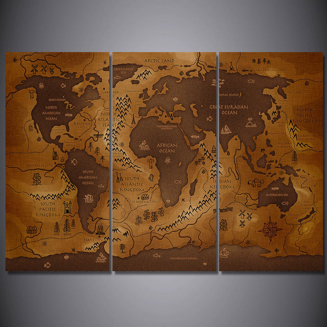 3 pcsset framed hd printed vintage world map poster wall art canvas 3 pcsset framed hd printed vintage world map poster wall art canvas pictures for gumiabroncs Image collections