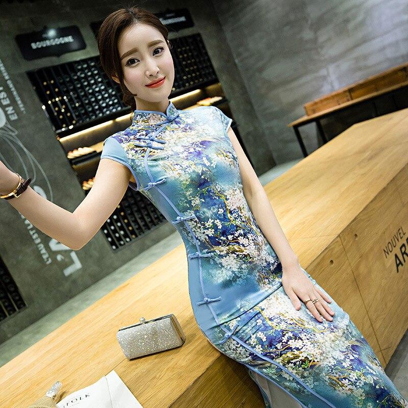 Vestito cinese corte Qipao a maniche corte Abito Donna modello fiore taglia 38 al 48
