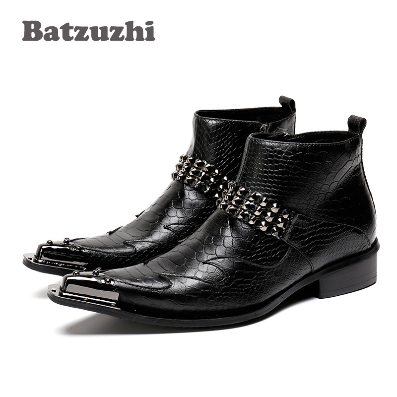 где купить Batzuzhi Fashion Male Boots Golden Personality Pointed Iron Toe Genuine Leather Men Short Boots Stage Nightclub botas hombre по лучшей цене