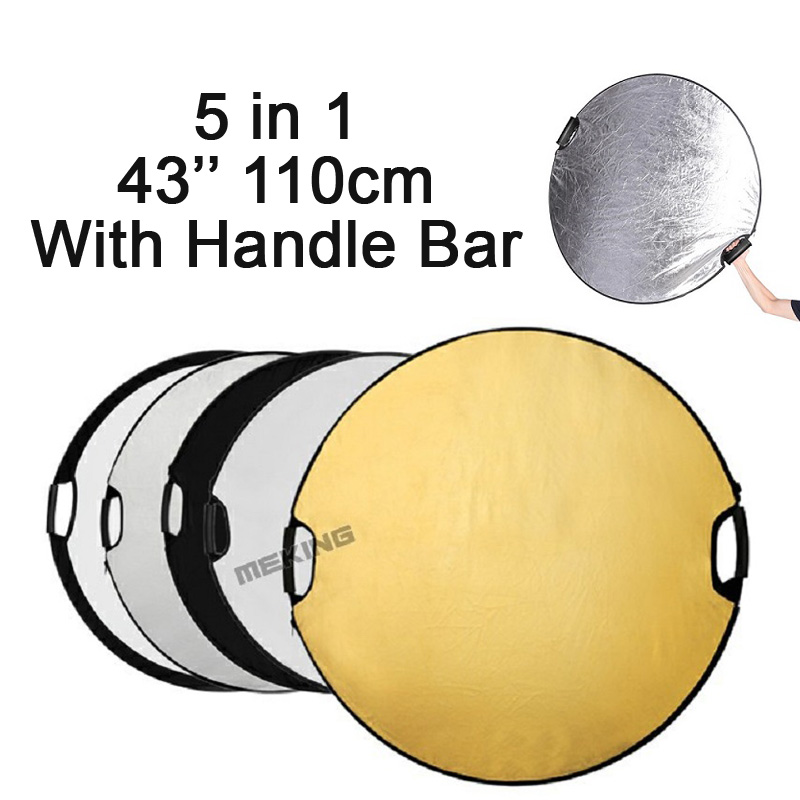 Selens 5 in 1 110cm 43 Round Reflector Portable Collapsible Light Photography for Studio Multi Photo Disc Flash Lighting