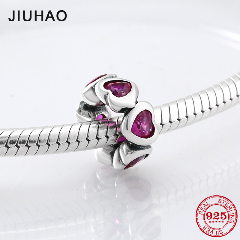 Light red Sparking Hearts Spacer 925 Sterling Silver Charm Beads Fit Original Pandora Bracelet Luxury DIY Jewelry making