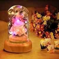 WR Boda Decoración FRESCA Conservada Aumentó en la Cúpula De Vidrio con Luz LED de Audio Bluetooth de Carga USB para el Regalo de Cumpleaños de San Valentín