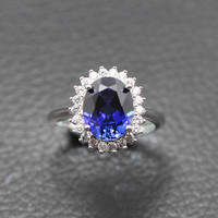 ring of Princess Diana S925 silver oval blue stone colored stones rings prong Setting women