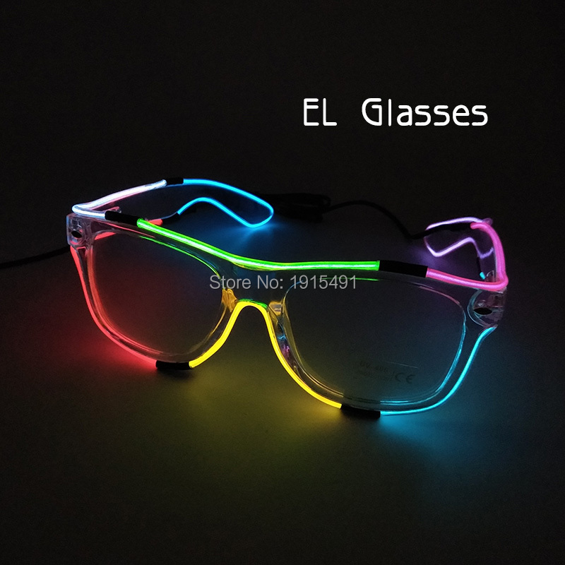 Cheap!Christmas Decoration for Home Neon Led Light Masque Bar Night Glasses Holiday Lights Colorful EL Wire Charming Eyeglasses