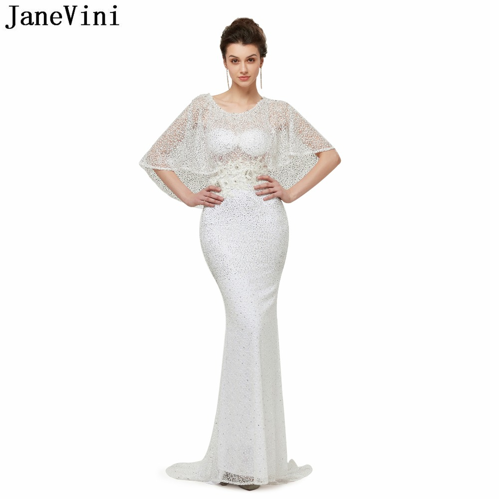 JaneVini Vintage White Lace   Bridesmaid     Dresses   with Appliques Beaded Scoop Neck Sheer Back Mermaid Prom Gowns Ballkleider Lang