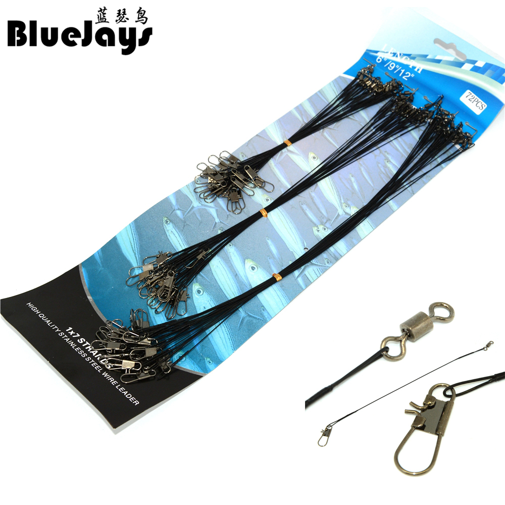 BlueJays A Quanlity 72PCS/lot Fishing Tackle Lure Trace Wire 15cm 23cm 30cm Length Anti-bite Black Fishing Wire Free Shipping