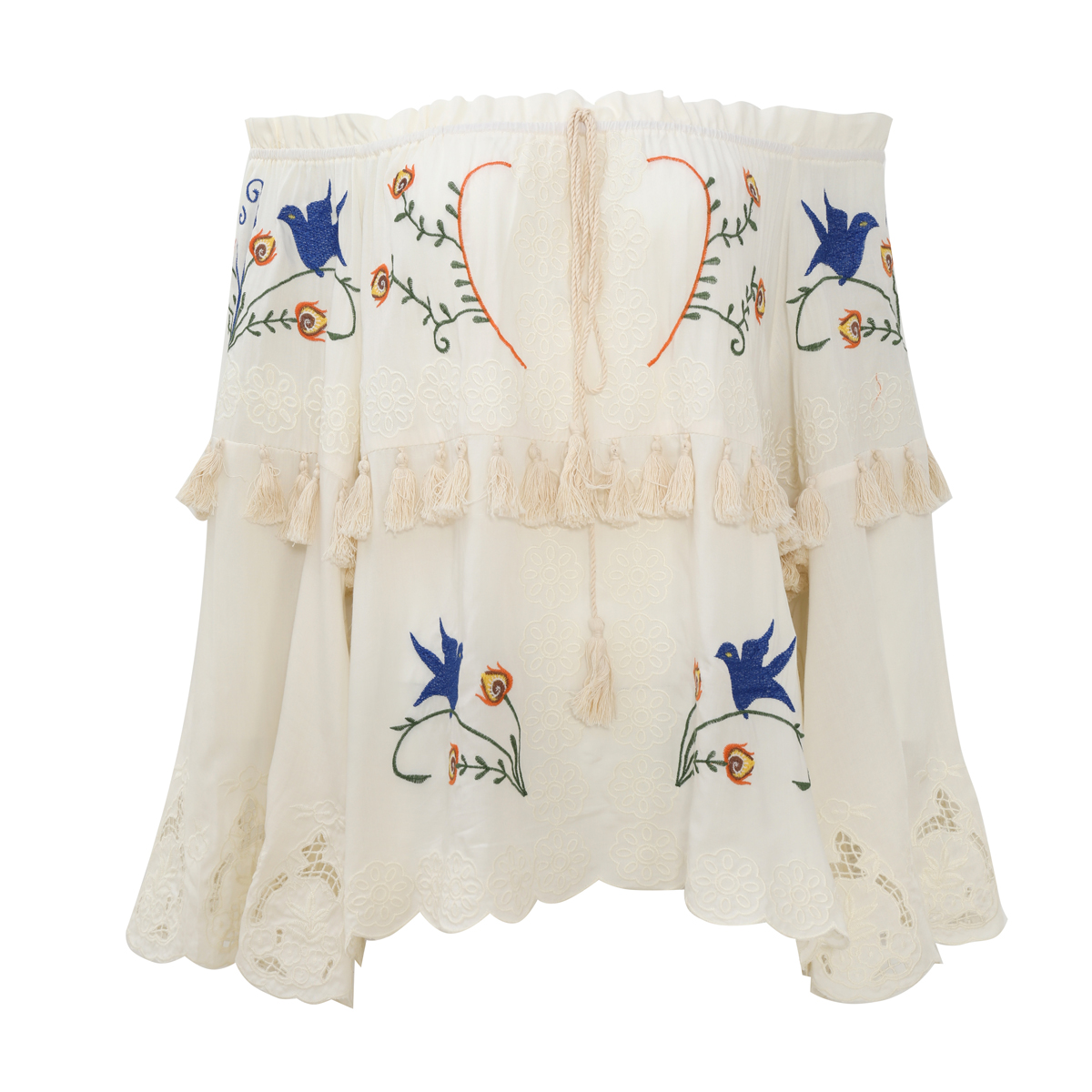 Tops Embroidery Off-shoulder out 6
