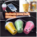 Free Shipping Starbuck power bank 5200MAh starbuck coffee cup external Portable backup Battery Charger universal with Package