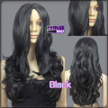 100% Picture full lace wig 60cm Black Heat Styleable No Bang Curly Cosplay Wigs