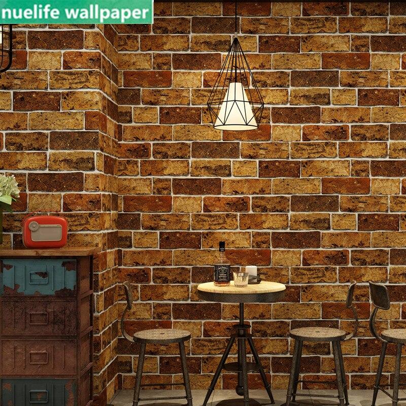 industrial style brick pattern wallpaper restaurant shop cafe living room bedroom TV sofa background wall paper