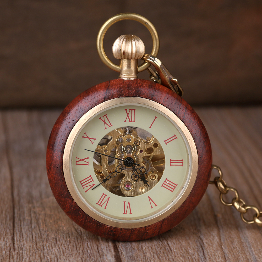 цены New Arrival Open Face Mechanical Mens Pocket Watch Golden Hand Wind Movement Wooden Case Style Skeleton Watch With Chain