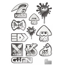 11pcs/set High Quality Hot Game Splatoon 3D Silver Metal Stickers for Phone Laptop Car Fridge toys for children splatoon