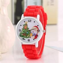2017 New Cartoon Children' Watch Cute Santa Claus Bracelet Wristwatch Fashion Girls Kids Silicone Quarts Watches Sports Clock