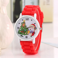 2017 New Cartoon Children' Watch Cute Santa Claus Bracelet Wristwatch Fashion Girls Kids Silicone Quarts Watches Sports Clock