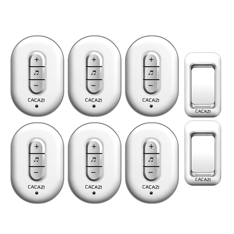 CACAZI Wireless Doorbell 2 waterproof buttons+6 plug-in receivers AC 110-220V 280M remote door bell 48 rings 6 volume door chime cacazi ac 110 220v wireless doorbell 1 transmitter 6 receivers eu us uk plug 300m remote door bell 3 volume 38 rings door chime