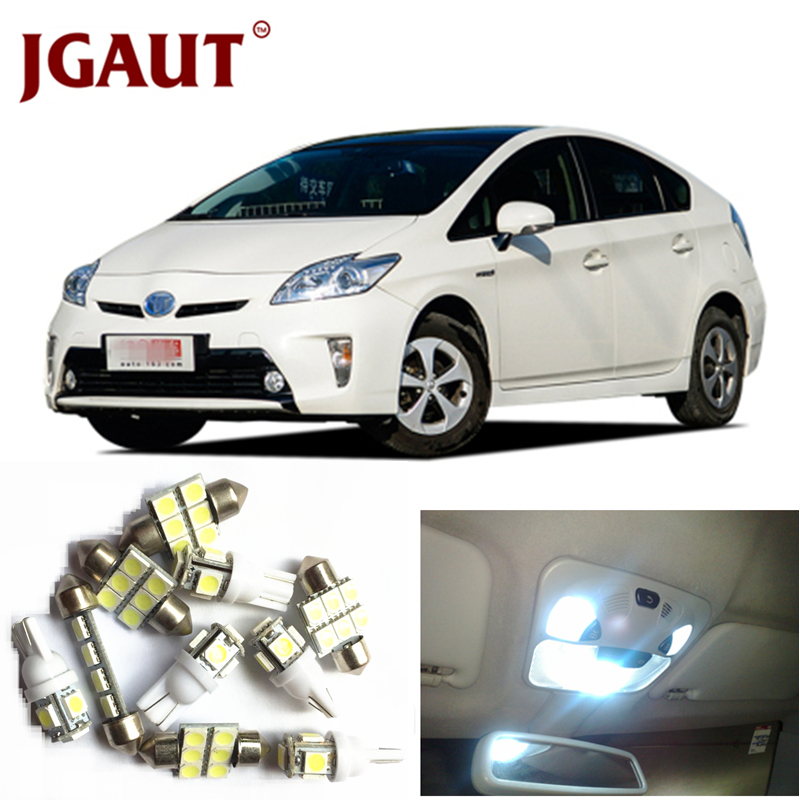 JGAUT For 2004-2015 Toyota Prius White Red Blue LED Lights Interior Package Kit Map Dome Licens Trunk/Cargo Step/Courtesy Light 8pcs car led light bulbs interior package kit for 2003 2008 subaru forester map dome trunk license plate lamp white ice blue