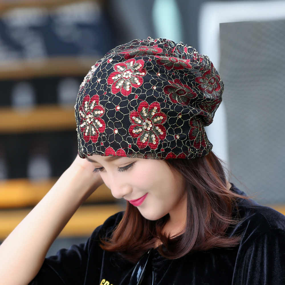 bf36100126c ... girl women brand hat lace luxury floral beanie hats custom design rhinestone  flower style casual spring ...