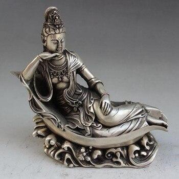 China collection archaize white copper water Guanyin bodhisattva Buddha statue