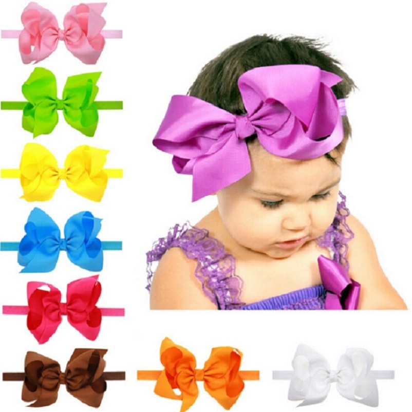 Little girl big bows hair accessories Child headband Elastic hair bands Ribbon bows Kids girl bow headbands 1pc HB145 newborn photography props child headband baby hair accessory baby hair accessory female child hair bands infant accessories