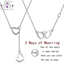 2017 New Trendy 925 Sterling Silver Rose Gold Color Unique Double Heart Pendants & Necklace For Women Girlfriend Collares Mujer
