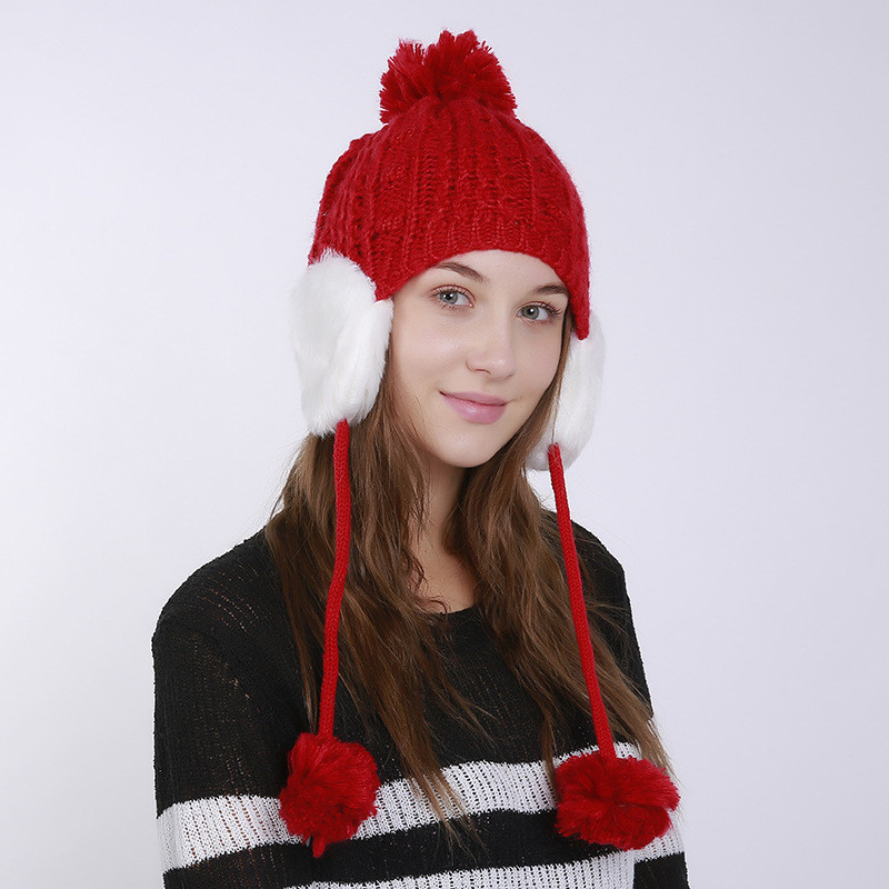 beb16e3d41010 2017 Women s Winter Knitted Bomber Hats Beanie for Girls Top Hair Ball  Hanging Ball Earflap Hat Casual Fashion Female Caps-in Bomber Hats from  Apparel ...