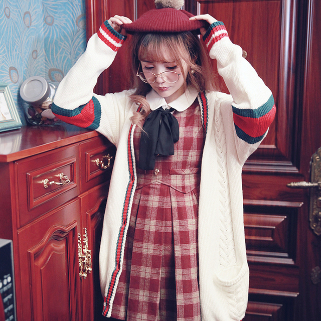Princess lolita cardigan My name is Bobon21 the Christmas tree wind spell color stripe twist knit and thick warm cardigan T1537
