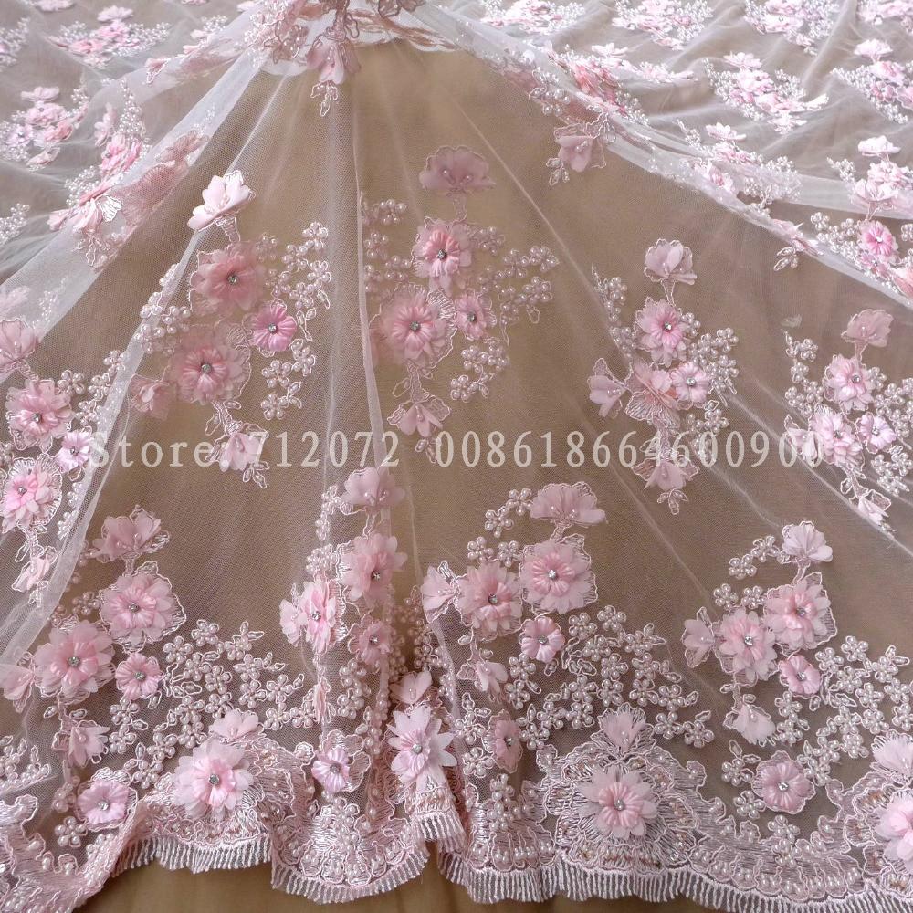 New Handmade Light Pink Heavy Pearls Beadeds 3d Chiffon Flowers