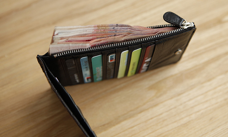 LAN Free shipping Mens ultra thin long leather wallet leather handmade knitting wallet mens leather purse