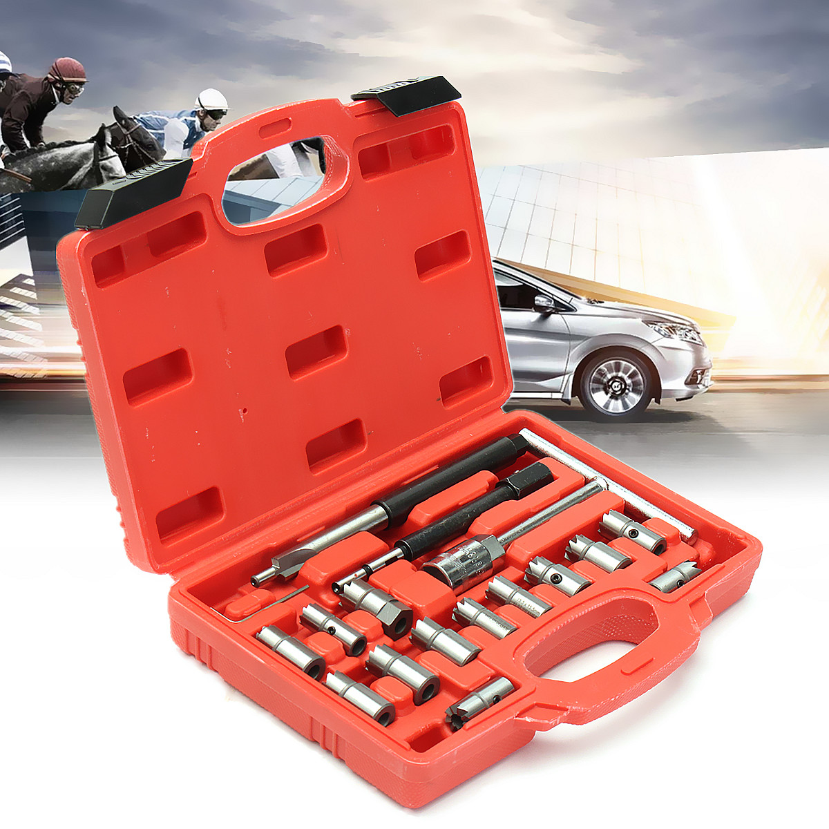 17Pcs T Handle Car Auto Repair Tool Set Diessel Injector Seat Cutters Cleaners Centering Pilot and Professional Universal Set