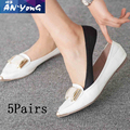 5 pairs Women Cotton Antiskid Invisible Liner No Show Peds Low Cut Ice Sock Slippers