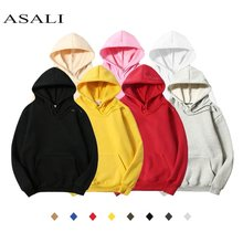 Fleece Polyester Pullover Coat Men Hoodie Hooded Solid Color Casual 100% Cotton Sweatshirts Hip Hop Mens Street Style Hoodies(China)