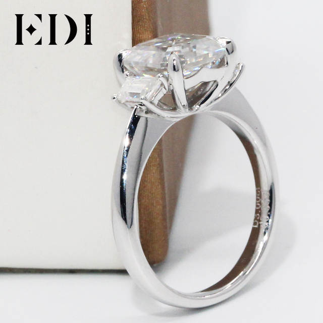 1d7e1943131c1 US $858.28 14% OFF|EDI Asscher Cut Brilliant 3CT Moissanite Engagement  Rings 10K White Gold Lab Grown Diamond Ring For Women Brand Fine Jewelry-in  ...