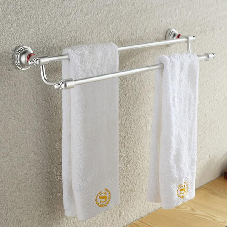 Bathroom double towel bar bar bathroom towel rack holder for Rack for bathroom accessories
