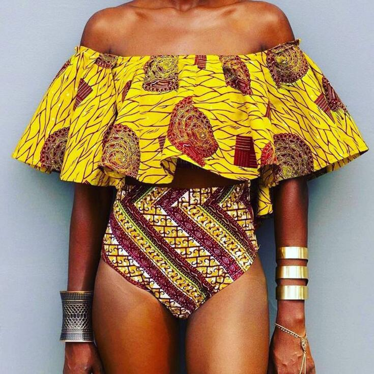 OULING plus size off shoulder swimsuit ruffle bikini swimwear push up bathing suit high waist flouncing brazilian XXXL