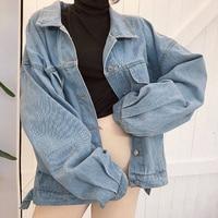 Женское пальто, джинсовая куртка, винтажная Свободная куртка с принтом Jaqueta Feminina, куртка оверсайз, пальто с длинными рукавами, однобортные к...