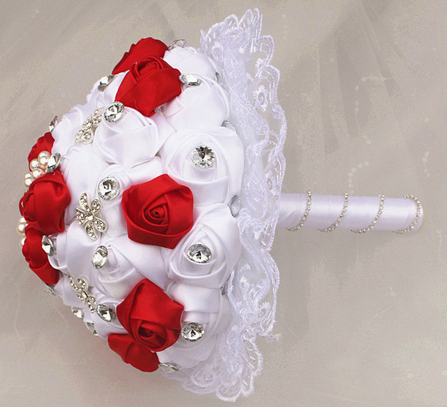 Image 5 - WifeLai A 1Piece Luxury White Red Rose Flowers Lace Brooch Bridal Bouquets Diamonds Stitch Wedding Decoration Bouquets W2281-in Wedding Bouquets from Weddings & Events