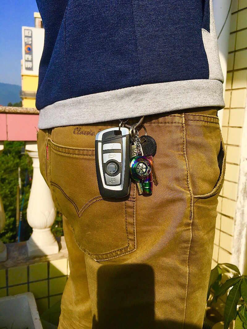 FLYJ porte-clés porte-clé de voiture   Métal, Turbo, manchon de clé, roulement de voiture, partie automobile, modèle Turbine turbochargeur, porte-clés