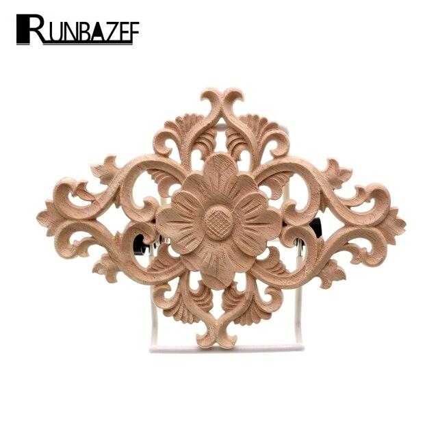 Runbazef Unpainted Wood Carving Stamp Applique Crafts Furniture
