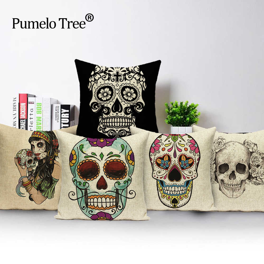 Mexican Sugar Skull Pillow Cover Colorful Car Seat 2018 New Cushion Decorative Covers