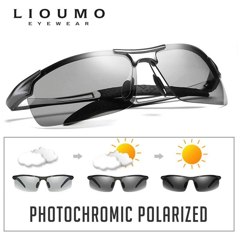 5f2fa23b186b6 LIOUMO Retro piloto photochromic polarizada óculos de sol Dos Homens  All-weather HD Anti-