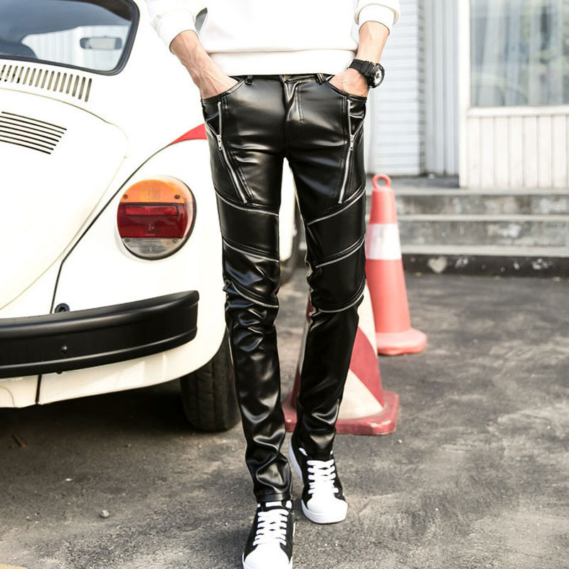 Faux Leather Slim Fit Dancing Stylish Men Clubwear Leisure Korean Boot Cut Pants