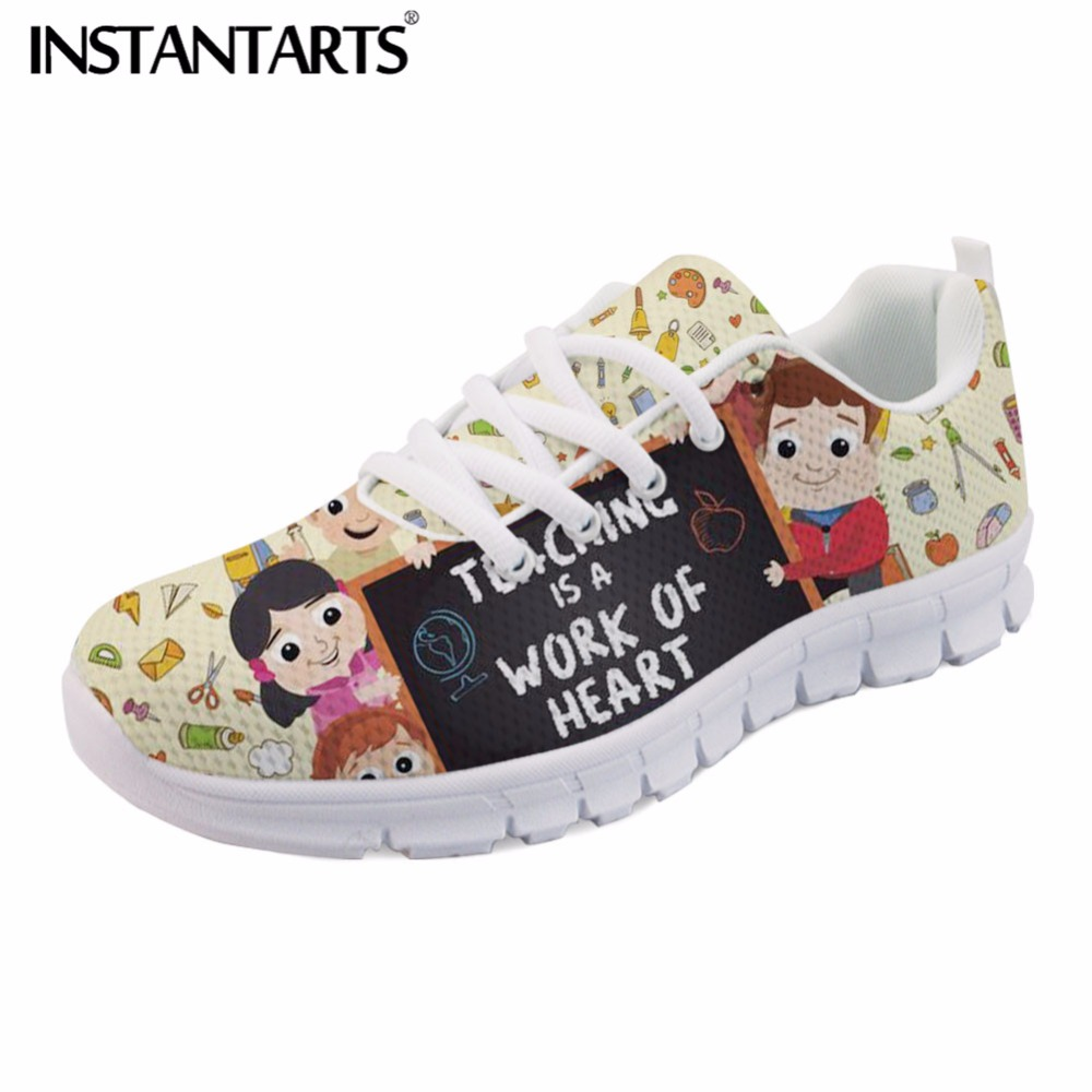 INSTANTARTS Breathable Mesh Sneakers Women Fashion Spring Autumn Flat Shoes Teaching is A Work of Heart Pattern Youth Girl Flats