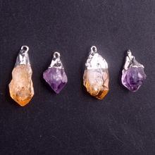 12pcs Rough Amethysts Random Irregular Natural Stone Raw Treat Citrines Quartz Healing Pendents Pendulum For Jewelry Making Free