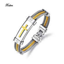 Xuben Fashion Men Bracelet Cross Stainless Steel 3 Rows Wire Chain Cuff Bangles for Men Jewelry Punk Silver Gold Color  pulseira
