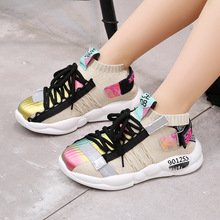 New Fashion big Children shoew flying net shoes coconut muscle soles Girls and boys Sports Running shoes Kids Sneakers SH19060