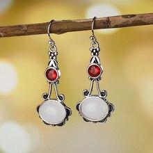 Antique Silver Geometry Moonstone Drop Earrings For Women Boho Round Red Opal Earrings Female Zircon Wedding Jewelry Gifts fake opal geometry drop earrings