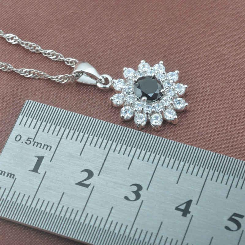 2019 חדש שחור Zirconia לבן CZ נשים של 925 סטרלינג תכשיטי כסף סטי שרשרת תליון עגילי טבעת משלוח אריזת מתנה TZ0467