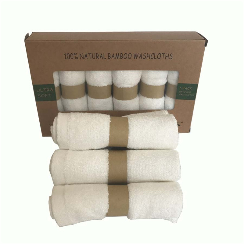 Baby Washcloths 100%bamboo Fiber Natural Organic Bamboo Baby Towel 6 Pack/set Per Box Size 10